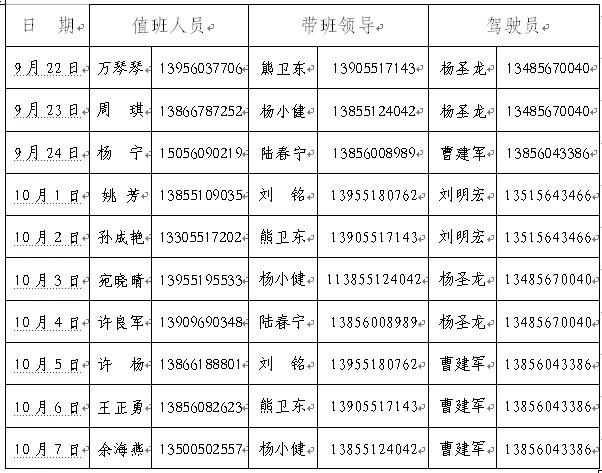九月放假安排表_关于中秋节、国庆节放假的通知